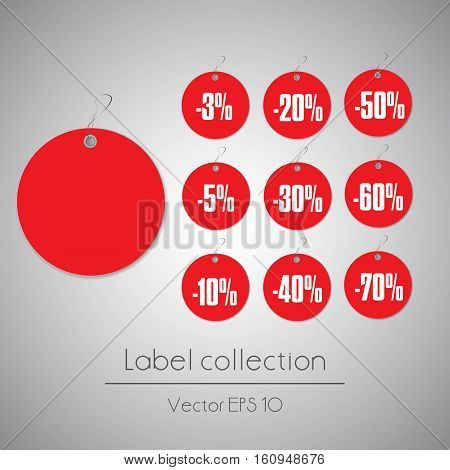 Label round red hanging tag collection illustration on gray background