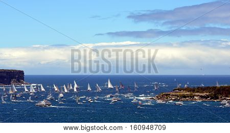 Sydney Australia - December 26 2013. Participiant Yachts reached the Tasman Sea. The Sydney to Hobart Yacht Race is an annual event starting in Sydney on Boxing Day and finishing in Hobart.