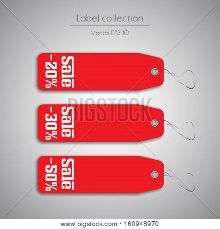 Label red hanging tag collection illustration on gray background