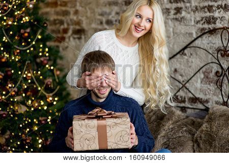 Christmas Couple, Happy Young Female Surprise Man Cover His Eyes