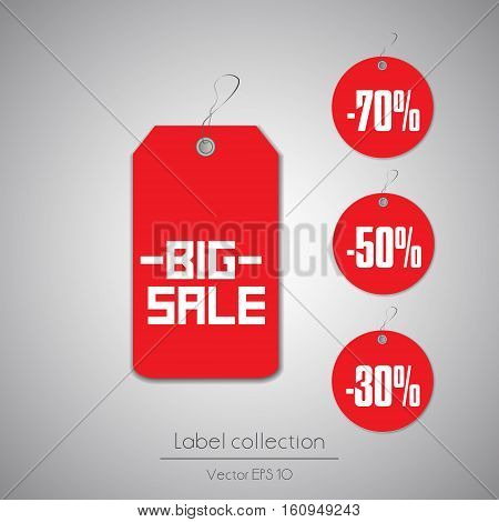 Label round set hanging tag collection illustration on gray background