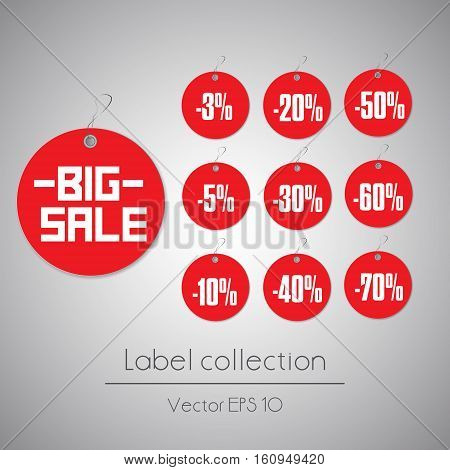 Label round sale hanging red tag collection illustration on gray background