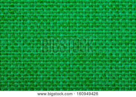 Natural linen fabric for embroidery. Green color
