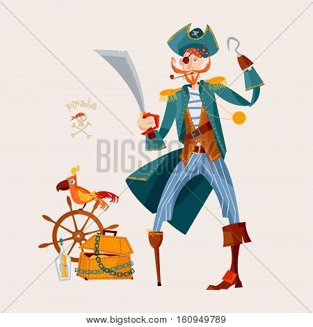 Pirate wooden chest with gold ships wheel and a parrot. Vector illustration