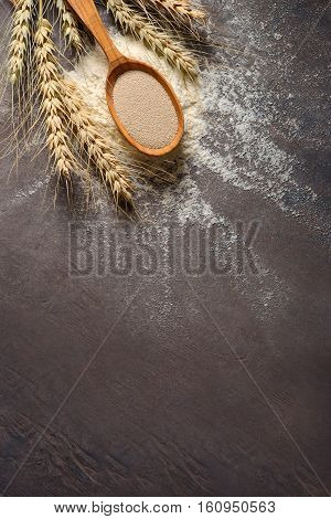 Dry yeast in a wooden spoon laying on a hip of a flour view from above baking ingredients concept space for a text