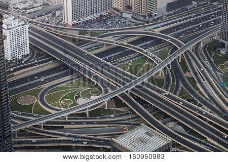 Dubai city, view from Burj Khalifa. The biggest multilevel crossing in Emirates.