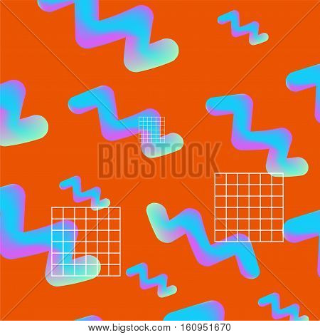Holographic neon trendy pattern on orange background