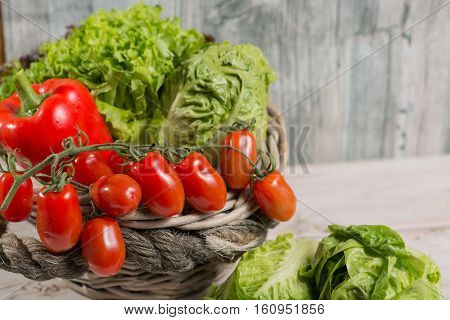 Ingredients for fresh spring healthy green salad. Green fresh roma lettuce salad leaves and roma mini tomatoes - healthy low calorie food poster