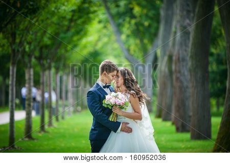 Beautiful young bride and groom going to kiss in park