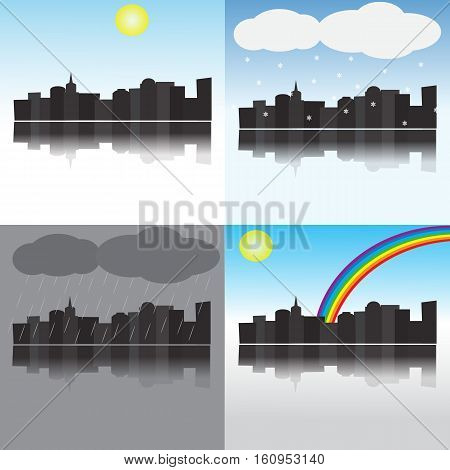 City in different weather, four natural phenomena