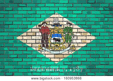 Flag of Delaware on a brick wall with effect Illustration,  The flag of the state of Delaware on brick textured background,  Delaware Flag in brick style