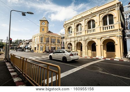 Phuket Thailand - December 9 2016 : Renovated Chino-Portuguese style building and clock tower in phuket old town. The chartered bank building in phuket.
