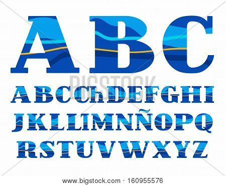 Spanish alphabet, Aqua, vector font, capital letters. Vector colorful letters with serifs. Blue and yellow wave on blue background. Sea waves simulation.