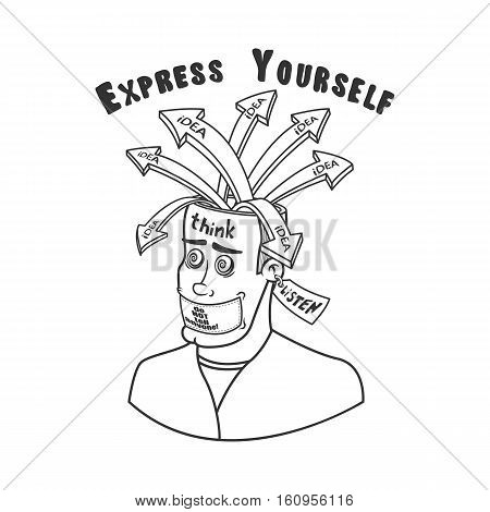 Emotional explosion of ideas. A man in search of ideas with an open head, silent not speak, listen. Cartoon, vector illustration, outline.