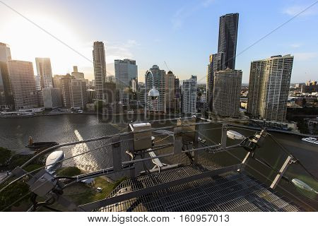 BRISBANE, AUSTRALIA - December 5 2016: Brisbane Story Bridge summit and sunset of the city