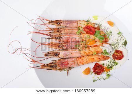 langoustine prawns grilled white background. Top view