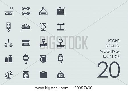 scales, weighing, balance vector set of modern simple icons