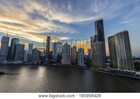 BRISBANE, AUSTRALIA - December 5 2016: Colourful sunset of Brisbane City riverside
