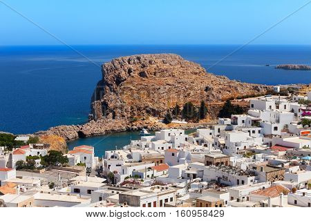 Beautiful view of Lindos bay at sunny day, Rhodes, Dodecanese Islands