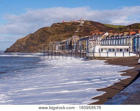 View of Aberystwyth on the Ceredigion coast Wales looking towards constitution hill after the storms of January 2014.