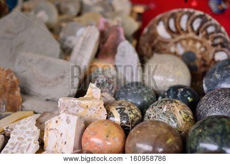 stone balls of different minerals ammonites tourist souvenir