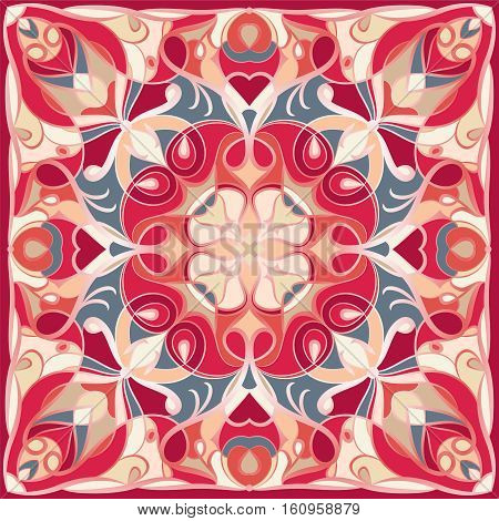 Traditional ornamental floral bandanna. You can use this pattern in the design of carpet shawl pillow cushion.