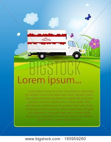 Red Small truck. Silhouette. Vector Illustration EPS10