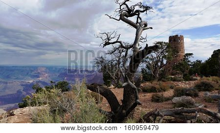 Desert View Watchtower on the edge of the Grand Canyon National Park in Arizona