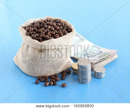 Concept of income from the production of coffee in India, highlighted by coffee beans in a bag and Indian rupees and coins.