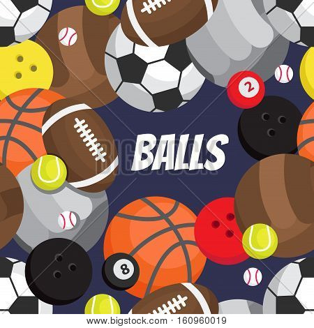 Seamless pattern of balls. Football volleyball basketball golf tennis bowling rugby snooker