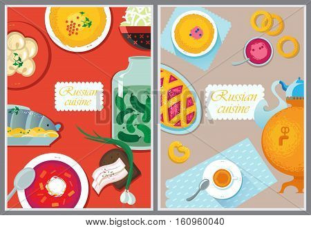 Set Russian National Food. Food Illustration Russian Cuisine With Pancake, Dumplings, Borscht, Herri