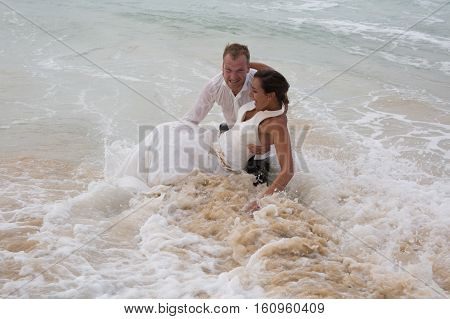 Lovely Couple Wedding In Sea Water During Marriage