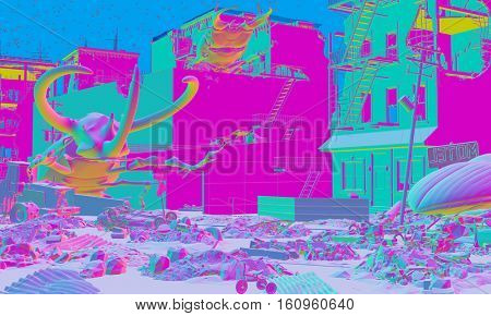 Ruined city by giant insects. Apocalyptic fantasy art acid-style concept. 3D rendering