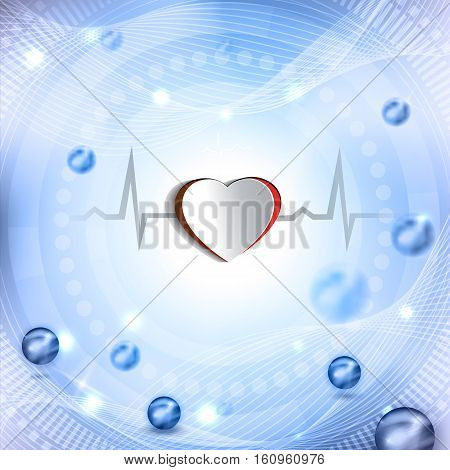 Cut Out Heart Shape And Cardiogram. Beautiful Abstract Background With Balls.
