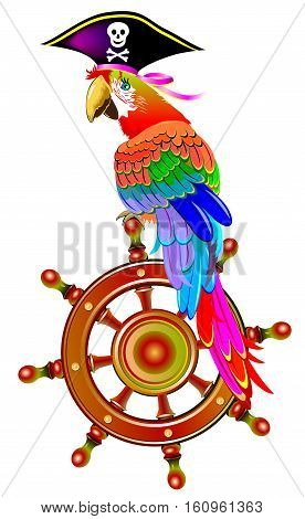 Illustration of funny parrot siting on the steering wheel in a pirate hat, vector cartoon image.