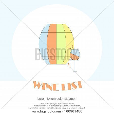 Wine list restaurant menu template. Line style green, blue, red barrel, glass with red wine, drops, Lorem ipsum on white. Perfect wine design element stock vector illustration