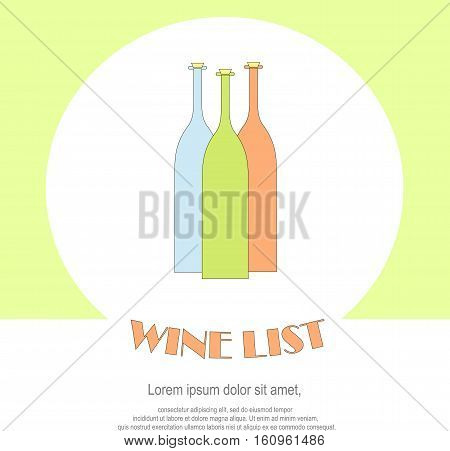 Wine list restaurant menu templates. Line style green, blue, red, bottles, Lorem ipsum on white. Perfect wine design element stock vector illustration