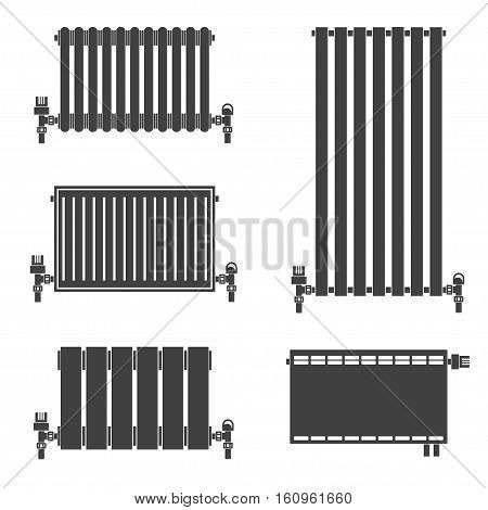 Central Heating Radiators silhouette icons for web and mobile, modern minimalist flat design. Vector black icon on white background. Set of heating radiators.