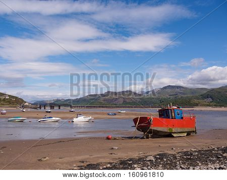 Barmouth harbour and estuary on a bright May spring day.
