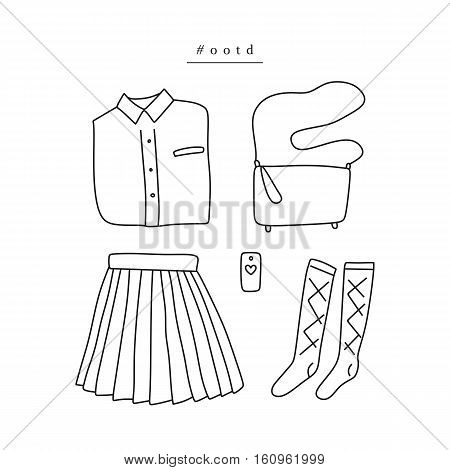 Outfit of the day. Hand drawn clothes: shirt pleated skirt knee socks crossbody bag smartphone in linear style (flat lay / top view)