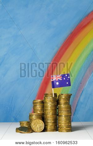 Gold dollar coins and Australian flag against a blue sky and rainbow background, illustrating the concept of the foreign exchange value of the Australian currency.weakness of the Australian currency.