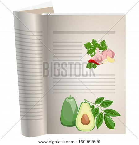 Template pages of a cookbook. You can have there favorite recipes. Avocado sliced with a bone. A set of ingredients for spicy seasonings. Peppers and garlic with parsley. The template for the layout of text recipes.