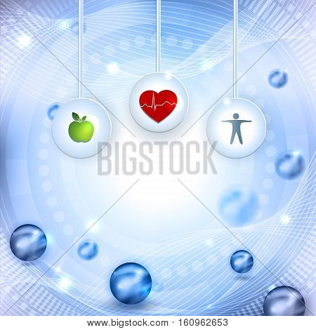 Symbols how to get healthy life eating healthy food and fitness leads to healthy heart and life. Beautiful abstract bright background with balls.