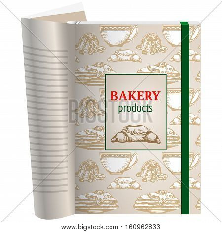 Template pages of a cookbook. You can have there favorite recipes. Shmutstitul to start baking recipes. Space for text and picture croissant. Background seamless pattern.