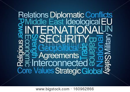 International Security Word Cloud on Blue Background