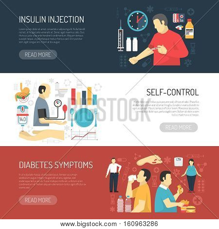 Diabetes horizontal banners set with decorative icons compositions explaining disease symptoms insulin injection and self control flat vector illustration