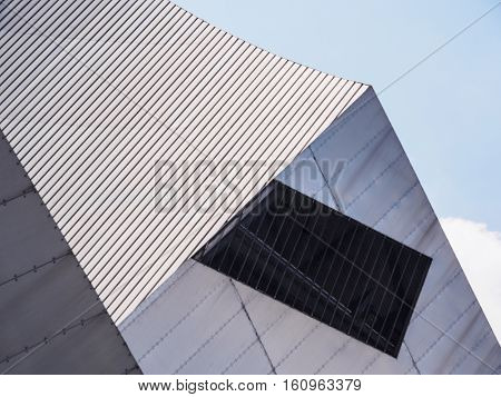 Building detail demonstrating contemporary architecture and regeneration at Salford Quays near Manchester England.