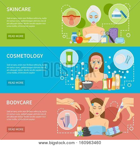 Cosmetology and spa procedures horizontal banners with skincare and bodycare design compositions flat vector illustration