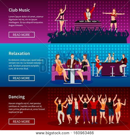 Nightlife entertainment best dance club webpage 3 flat banners design with strip musical show isolated vector illustration