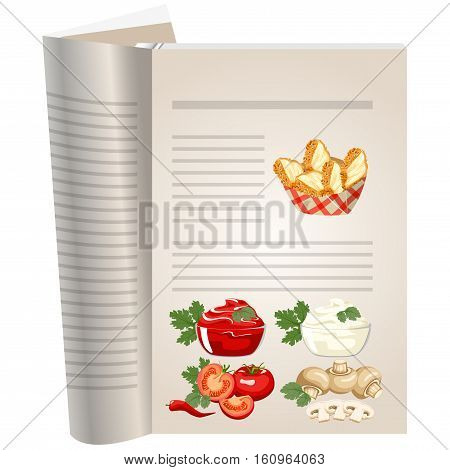 Template pages of a cookbook. You can have there favorite recipes. Chicken breast in breadcrumbs. Creamy mushroom sauce and ketchup with fresh tomatoes.